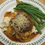 Salisbury Steaks in French Onion Sauce, Sour Cream Mashed Potatoes, and Steamed Yellow & Green Beans