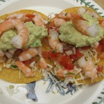 Super-Simple Shrimp Tostadas, Guacamole, & Peach Clafouti