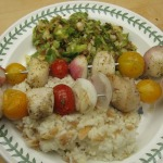 Sea Scallop Skewers with Rice Amandine, Sauteed Brussels Sprouts, and Poached Pears