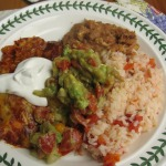Easy Cheese Enchiladas, Avocado Pico de Gallo, Mexican Rice, Refried Beans, and Chambord Brownies