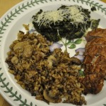 George Ann's Pork Tenderloin, Italian Spinach, and Wild Rice with Mushrooms