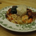 Shrimp Risotto with Frizzled Proscuitto and Seared Scallops