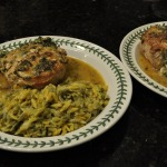 Pork Chops Stuffed with Sun-dried Tomatoes and Spinach and Cheesy Orzo