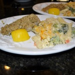 A Wonderful Meal!  Baked Cod Oreganata, House Special Mac 'n Cheese with Broccoli, and Kentucky Derby Cake!
