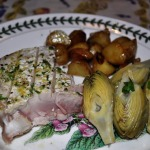 Tuscan-style Grilled Albacore Steaks, Braised Baby Artichokes, and Skillet Potatoes and Onions