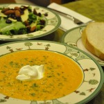 Roasted Heirloom Tomato Soup and Harvest Salad with French Vinaigrette