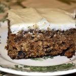 Baked Sunday Mornings ~ Oatmeal Chocolate Chip Cake with Cream Cheese Frosting