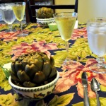 Steamed Artichokes and Sea Bass en Papilotte with Oven-Roasted Taters