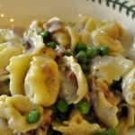 Cheese Tortellini with Cream Sauce with Peas, Mushrooms, and Proscuitto