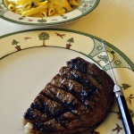 Grilled Rib-eye Steak and Mostaccioli with Zucchini and Smoked Mozzarella