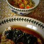 White Sea Bass with Olive Tapenade and Mango Chatini, and Lemon Barley Pilaf ~ French Fridays with Dorie Trifecta