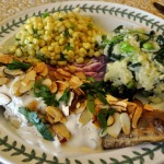 Trout Almondine with Cream Sauce, Rice with Spinach and Peas, and Sauteed Fresh Corn
