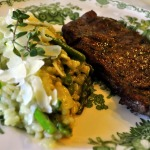 Grilled NY Strip Steaks and Jade Pearl Rice Risotto with Asparagus