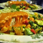 Pan-fried Halibut with Tomato Vinaigrette, Avocado Salsa, and Cilantro-Lime Rice