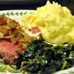 Red Wine Marinated London Broil topped with Blue Cheese Butter and Caramelized Shallots with Golden Mashed Potatoes and Sauteed Spinach