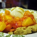 Amaretto Peaches with Brown Sugar Shortcake