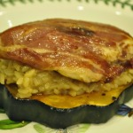 Chicken Saltimbocca and Risotto alla Milanese Over Baked Acorn Squash with Coconut Balsamic