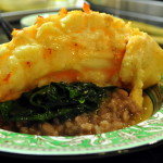 French Fridays with Dorie: Vanilla-Butter Braised Lobster over Risotto Milanese and Steamed Spinach