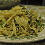 Giada's Tagliatelle with Smashed Peas, Sausage, and Ricotta Cheese