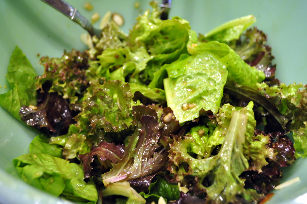 Fresh lettuce from our garden tossed with Lemon-Date Vinaigrette