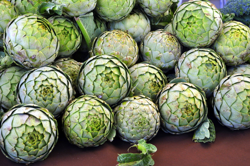 Beautiful globe artichokes for sale at the Channel Islands Farmers Market.