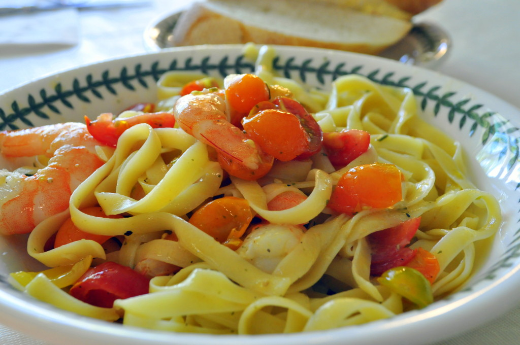 Tomato Vinaigrette tossed with cooled fettuccine and shrimp